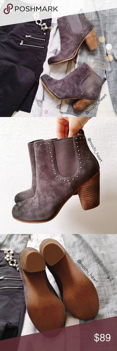 """BP. 'Trish' pull-on gray suede booties Casual pull-on style booties in a beautiful charcoal gray. Features silver stud detail and elastic goring at the sides. Heel measures approximately 3"""". Retail price is $120.  Please don't hesitate to ask questions. Thank you! bp Shoes Ankle Boots & Booties"""