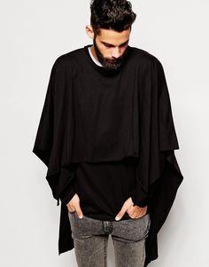 Image 1 ofASOS Super Longline Double Layer Poncho Sweatshirt