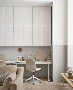 Storage ideas - minimalist home office - beige interiors - beige workspace Beige Living Rooms, Ikea Living Room, Interior Design Living Room, Living Room Designs, Design Interiors, Apartment Interior, Apartment Living, Apartment Ideas, Apartment Design