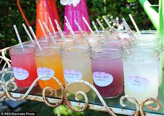 Quenching your thirst: Among the drinks on offer was rainbow lemonade, in a huge array of flavours