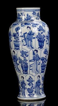 A good blue and white porcelain vase with beauties and boys near flower pots, China, leaf mark, Kangxi period. Porcelain Jewelry, Porcelain Vase, Fine Porcelain, Painted Porcelain, Hand Painted, Blue And White China, Blue China, Japanese Porcelain, Oeuvre D'art