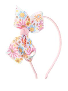 Pink Hairband With Floral Print Bow