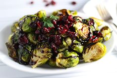 Roasted Brussels Sprouts with Cranberries and Balsamic Reduction | Platings and Pairings