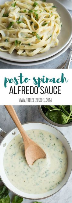 This Pesto Spinach Alfredo Sauce is light in calories and packed full of flavor! Better than plain old Alfredo sauce, and made with milk instead of cream (but we're keeping the cheese!). | light recipe | low fat | low calorie | pasta | healthier | healthy recipe | Parmesan | basil