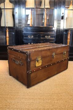 Antique Wooden and Leather Trunk Old Luggage, Luggage Bags, Sweeney Todd, Suitcases, Steamer, Hope Chest, Home Art, Liverpool, Storage Chest
