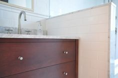 #DouglasAvenue Project  Meredith Heron Design  Bathroom Vanity  Brizo Faucet & Bath Fixtures