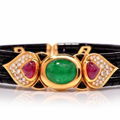Marina B Cabochon Emerald Diamond Onyx Choker Necklace | From a unique collection of vintage choker necklaces at https://www.1stdibs.com/jewelry/necklaces/choker-necklaces/