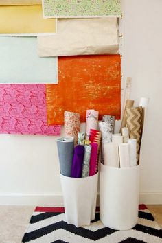 Wrapping paper in bucket for office organization idea