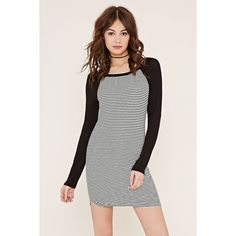Forever 21 Women's  Striped Baseball Dress (€16) ❤ liked on Polyvore featuring dresses, forever 21, white full length dress, white mini dress, striped dress and long white dress