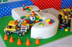 Another amazing Lego cake with the same construction concept. (Entire party is very well-done and colorful!)
