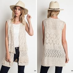 Frayed Sweater Vest - Oatmeal - $34.50