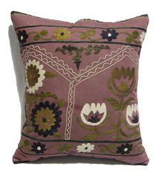 "free ship. Vintage Custom Made Decorative Hand Embroidery One of A Kind Antique Uzbek Suzani Cushion Pillow 53cmx60cm 21""x24"" item:yakL949"