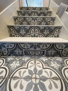 JOLLY profile in Greige finishes off these tile steps. Credit: Infinite Tile Designs Tile Steps, Finish Off, Tile Design, The Outsiders, Stairs, Profile, It Is Finished, User Profile, Stairway