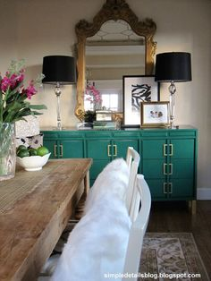 turquoise / emerald buffet and black lamps Street Design School: Feature Friday: Simple Details Dining Room Inspiration, Interior Inspiration, Bedroom Inspiration, Color Inspiration, Green Dresser, Turquoise Dresser, Large Dresser, Interior Decorating, Interior Design