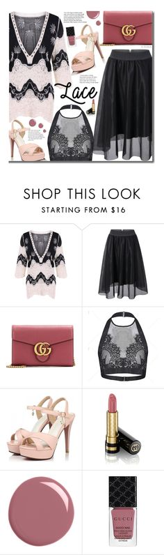 """Lace"" by beebeely-look ❤ liked on Polyvore featuring Gucci, NightOut, lace, sandals, Seethru and twinkledeals"