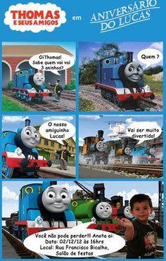 Convite Thomas e seus amigos Personalizado R$ 2,80
