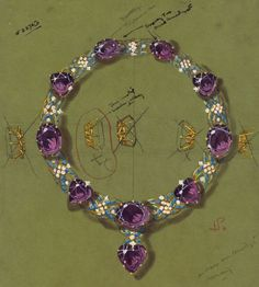 Cartier Jewelry by Marjorie Merriweather Post - Jewels - . - Cartier jewelry by Marjorie Merriweather Post – Jewels – - High Jewelry, Jewelry Art, Antique Jewelry, Jewelry Accessories, Purple Accessories, Wallis Simpson, Jewelry Design Drawing, Jewellery Sketches, Jewelry Sketch