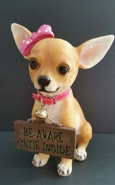 "Lifelike Chihuahua Statue Figurine with Sign Be-Aware Cutie Inside 12"" Tall New #DWKCorporation #realistic"