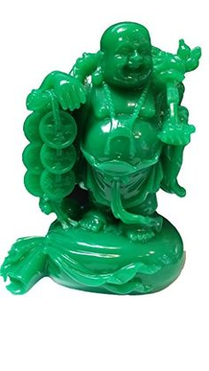 2016 Monkey Feng Shui Auspicious Feng Shui Buddha jade Color Resin Happy Buddha Statue Laughing Buddha Statue wealth money longlife Buddha Statue 7  high ** Clicking on the image will lead you to find similar product