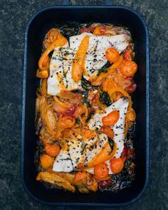 Tastes of the Med: baked red mullet, peppers and tomatoes.