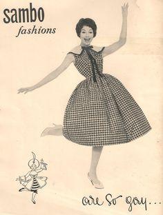 """""""Sambo fashions are so gay..."""". A Horrockses Fashions rival advert from Vanity Fair May 1958"""