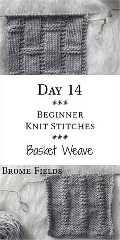 Basketweave Knit Stitch : Day 14 of the 21 Days of Beginner Knit Stitches : Brom. Basketweave Knit Stitch : Day 14 of the 21 Days of Beginner Knit Stitches : Brome Fields : Beginner Knitting Patterns, Easy Knitting, Knitting For Beginners, Loom Knitting, Knitting Stitches, Knitting Tutorials, Knitting Machine, Knitting Ideas, Knitting Needles