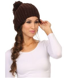 Features cable knit pattern with large inch cm) pom pom ball at top. Hat is widest at center base. Soft with a lot of stretch. Hat Sizes, Knit Patterns, Beanie Hats, Cable Knit, Knitted Hats, Dress Outfits, Winter Hats, The Incredibles, Base
