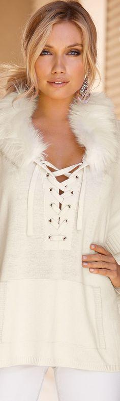 Boston Proper Faux-Fur Trim Hooded Poncho Sweater