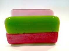 Fused Glass Business Card Holder Green and by Mtbaldyglassworks, $19.00