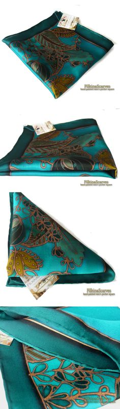 FilkinaScarves . Silk Pocket Square Blue Green Petroleum Mens silk hanky Hand Painted Batik Pocket Square Lady's handkerchief fathers gift Mens Fashion FS 41 . Floral Men's Silk Satin Silk Pocket Square in blue-green-petroleum, elegant abstract flowers hand drawn on blue green background.  This hand-painted SILK Pocket Square/handkerchief can be a great gift for both - a man and a woman