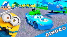 HULK + FUNNY DANCING MINIONS, DINOCO McQueen Disney CARS FOR KIDS NURSER...