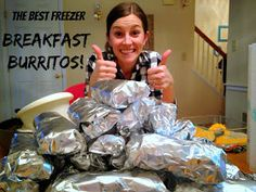 Freezer breakfast burritos, definitely need to add spice in there though!