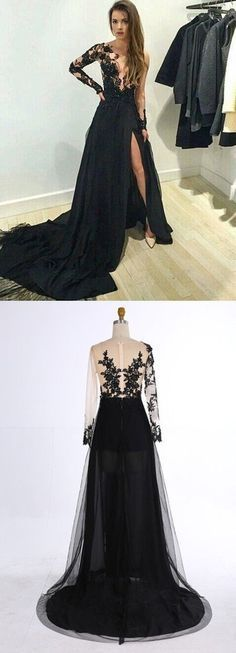 Black Lace Long Sleeves Prom Dresses,Deep V Neck Prom Dresses,Front Split Prom Dresses 2016,Sexy Evening Prom Gowns,Formal Women Dress