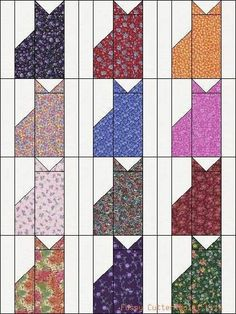 Calico Cat Quilt Pattern | Calico Kitty Cats Kittens Grab Bag of Fabric Easy Pre-Cut Quilt Blocks ...