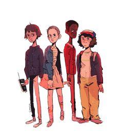Stranger Things art by Geena Vaughn - Mike Wheeler, Eleven, Lucas Sinclair, Dustin Henderson