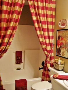 My French Country Guest Bath...with Drapery Panels as a Shower Curtain!