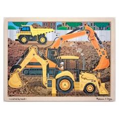 Melissa and Doug - Diggers at Work Jigsaw Puzzle - 24pc: We're going to Dig, Dig, Dig! This fantastic diggers at work 24 piece puzzle will delight all little builders as well as being a brilliant resource to learn about diggers and discovering and linking patterns through the fun, enjoyment and satisfaction of completing a puzzle. #alltotstreasures #melissaanddoug #diggersatworkjigsawpuzzle #woodentoys #puzzle #construction #diggers