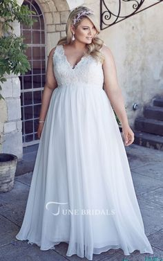 8771cb67d99 V-Neck Floor-Length Sleeveless Chiffon Plus Size Wedding Dress With  Appliques