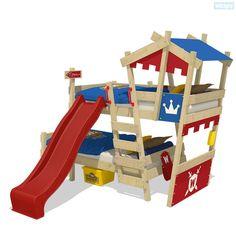 Etagenbett Wickey CrAzY Castle mit Rutsche. Jeden Tag ein neues Abenteuer mit den kreativen Kinderbetten von Wickey. Jetzt im Shop entdecken!