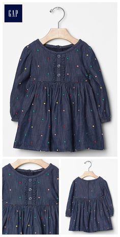 Embroidered dot denim dress, size or Stylish Dresses For Girls, Frocks For Girls, Kids Frocks, Little Girl Outfits, Kids Outfits Girls, Little Girl Dresses, Vintage Baby Dresses, Girls Dresses, Kids Dress Patterns