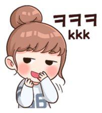 16 Ideas for pop art love words Korean Anime, Korean Art, Cute Korean, Korean Phrases, Korean Words, Pop Stickers, Kawaii Stickers, Korean Expressions, Korean Stickers