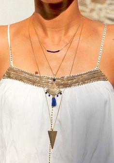Collier long triangle en laiton brut (doré) & perles de Lapis Lazuli, bijou ethnique
