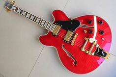 Top Quality ES355 ES 355 Custom Electric Jazz Guitar Bigsby Electric Guitar Semi Holoow Red 120101
