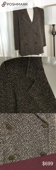 """Chanel Boutique Short Coat/Jacket Brown Tweed Approx size 38/40-size tag missing, see measurements in comments (mannequin is US size 4 for reference)  Wool blend w/silk lining Double-breasted Bronze color buttons with signature """"CC"""" engraved Lightly padded shoulders  Colors: Brown, Ivory, Black  Preowned; lightly worn. Light wear near button closures, minor tweed """"pull"""" at nape of neck, not noticeable as it lays flat (I lifted for disclosure) and will more than likely be concealed by hair…"""