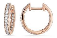 Glamorous diamond hoops in rose gold.