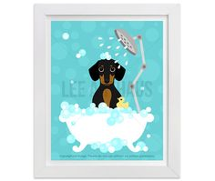 52D Dog Print  Dachshund Dotson Dog in Bubble Bath by leearthaus
