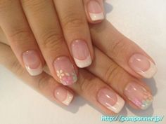 French manicure with flower accent nails Fancy Nails, Cute Nails, Pretty Nails, My Nails, French Manicure Nails, Manicure And Pedicure, French Nail Art, Neutral Nails, Accent Nails