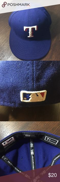 Authentic MLB fitted Texas Rangers baseball cap New Era fitted wool Texas Rangers baseball cap. Sz 7.5. Never worn and excellent condition. New Era Accessories Hats