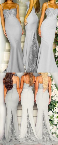 Prom Dresses Simple, 2019 New Arrival Spaghetti Straps Sweetheart Long Silver Gray Bridesmaid Dresses Mermaid Evening Gowns For Wedding Party, A long dress makes an elegant statement at any formal event whether it is prom, a formal dance, or wedding. Silver Grey Bridesmaid Dresses, Mermaid Bridesmaid Dresses, Gold Prom Dresses, Mermaid Dresses, Homecoming Dresses, Long Dresses For Wedding, Grey Prom Dress, Bridesmade Dresses, Cocktail Bridesmaid Dresses