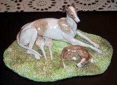 Greyhound and pups Ceramic